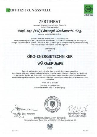 Wärmepumpen Installateur Zertifizierung